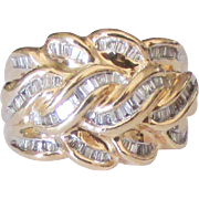 Spectacular 14K Diamond Baguette Dome Ring- Size 6 1/4