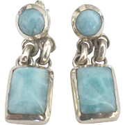 Lovely Sterling Larimar Pierced Dangle Earrings