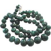 "Vintage Graduated Malachite Bead 22"" Sterling Clasp Necklace"