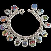 Vintage 800 Silver Germany 15 Travel Shield Sterling Charm Bracelet