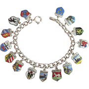 Vintage 800 Silver Germany 15 Travel Shield Sterling Charm Bracelet