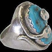 Vintage Zuni Signed EFFIE Sterling Turquoise Rattlesnake Ring- Size