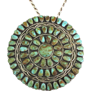 Spectacular Mid Century Larry Moses Begay Sterling Turquoise Pendant or Brooch with Chain