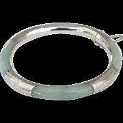 Vintage Jadeite Sterling Hinged Bracelet
