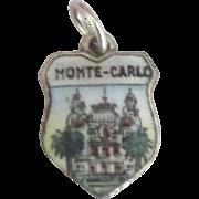 Vintage Enamel 800 Silver Monte Carlo Travel Shield Charm