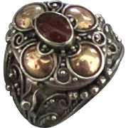 Fabulous Sterling with 14K Overlay Carnelian Poison Ring- Size 7 3/4