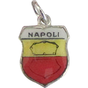 Vintage Enamel 800 Silver Naples (Napoli) Travel Shield Charm