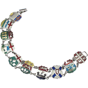 Wonderful Enamel Sterling Canada Provinces Shield Bracelet
