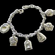 Vintage Sterling Chistian Sacraments Charm Bracelet