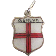 Vintage 935 Sterling Geneva Switzerland Travel Shield Charm