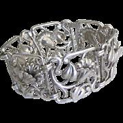 Vintage Framed Lily Link Bond Boyd Sterling Bracelet