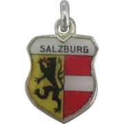 Vintage Enamel 800 Silver Salzburg Travel Shield Charm