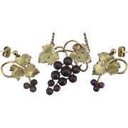Signed Krementz Amethyst Grapes Demi Parure- Necklace and Pierced Earrings