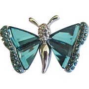 Sparkling Estate Signed Swarovski Butterfly Brooch