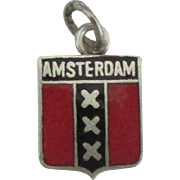 Vintage 800 Silver Amsterdam Travel Shield Charm