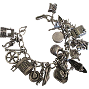 Loaded Vintage Western Theme Sterling Charm Bracelet