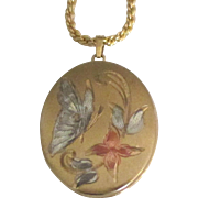 Lovely Enamel Gold Fill Butterfly and Flowers Locket and Chain