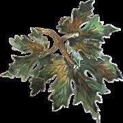 Lovely Large Signed Weiss Enamel Leaf Brooch