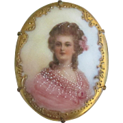 Beautiful Vintage Porcelain Portrait Brooch