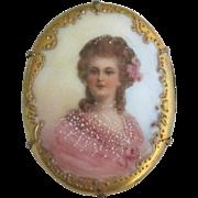 Beautiful Vintage Porcelain Portrait Brooch
