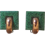 Signed Renoir Matisse Copper Green Enamel Earrings
