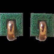 Signed Renoir Matisse Copper Green Enamel Earrings
