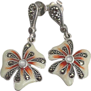 Lovely Sterling Enamel Flower Pierced Earrings with Marcatie