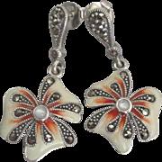 Lovely Sterling Enamel Flower Pierced Earrings with Marcatie