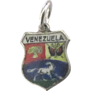 Vintage 800 Silver Venezuela Travel Shield Charm