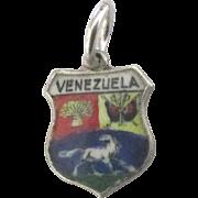 Vintage 800 Silver Venezuela Travel Shield Charm