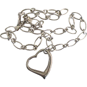 Chunky Sterling Large Open Heart Pendant and Chain