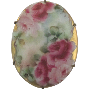 Beautiful Hand Painted Porcelain Roses Brooch