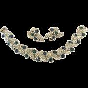 Lovely Vintage Coro Blue Green Rhinestone Bracelet with Earrings Demi Parure