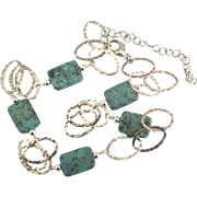 Attractive Hammered Open Link Sterling Necklace with Rectangular Turquoise Beads-