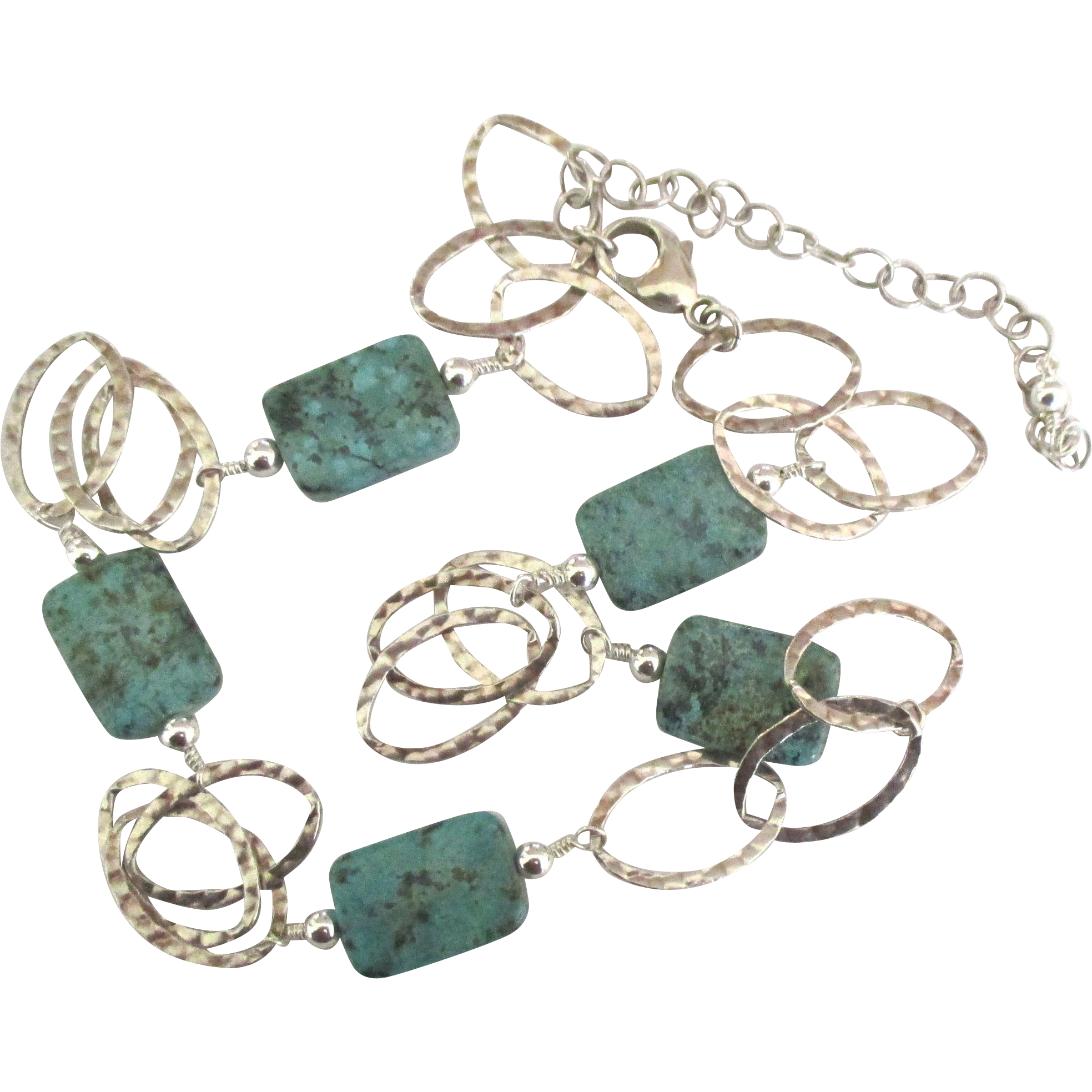 Attractive hammered open link sterling necklace with for Jewelry making classes san diego