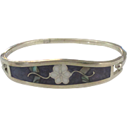 Vintage Inlaid Floral Design Sterling Hinged Bracelet