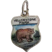 Vintage Enamel Sterling Yellowstone Park Travel Shield Charm