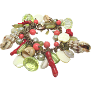 Vintage Chunky Shell Bracelet with Coral and Lucite Beads