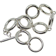 Chunky Sterling Round Link Toggle Bracelet- 32 Grams