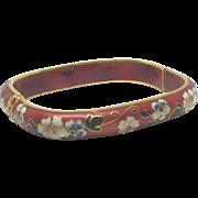 Lovely Vintage Cloisonne Square Floral Hinged Bracelet
