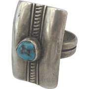Bold Old Pawn Sterling Turquoise Ring- Size 11 1/2