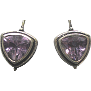Stunning Sterling Trilliant Cut 1 Ct Amethyst Pierced Earrings