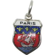 Vintage 800 Silver Paris France Travel Shield Charm