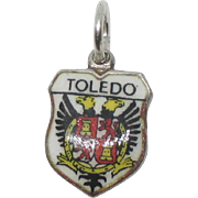 Vintage Enamel 800 Silver Toledo Spain Travel Shield Charm