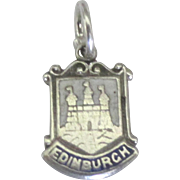 Vintage Sterling Edinburgh Scotland Enamel Travel Shield Charm