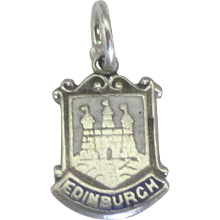 Vintage Sterling Edinburgh Scotland Enamel Travel Shield Charm