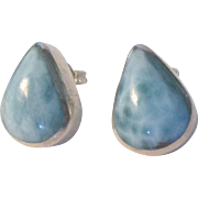 Lovely Larimar Tear Drop Sterling Pierced Earrings