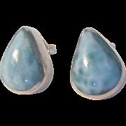 Lovely Larimar Tear Drop Sterling Pierced Earrings