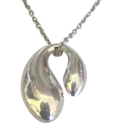 Authentic Tiffany Sterling Elsa Peretti Double Tear Drop Pendant with Chain