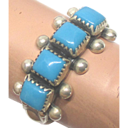 Vintage Zuni Sterling Square Turquoise Cabochon Ring- Size 7 1/4